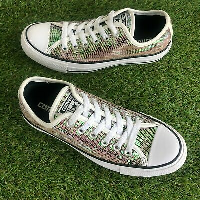£24.99 • Buy Converse Trainers Size 4.5 UK Pink Silver Gold Iridescent Sequin Glitter  (15)