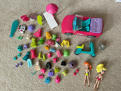 £7.50 • Buy Polly Pocket Fashion Bundle 2x Figures With Clothes, Car And Motorbike
