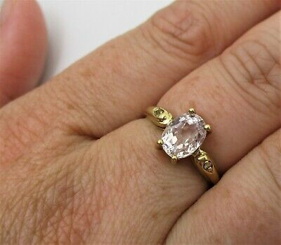 £29 • Buy A Fully Hallmarked 9ct Yellow Gold Gems TV 'Morganite' And 'Diamond' Set Ring.