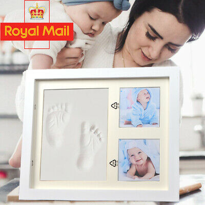 £13.19 • Buy Hand & Foot Print Clay Cast Kit 2 Photo Picture Frame Christening Gifts For Baby