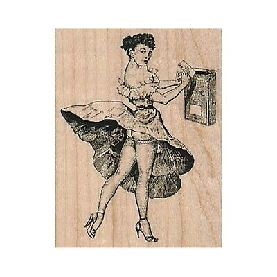 $11.75 • Buy Mounted Rubber Stamp, Lady At Mailbox, Mail Lady, Peek-A-Boo Lady, Naughty Lady