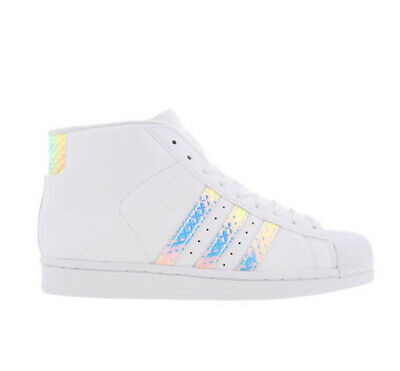 £49 • Buy Adidas White Pro Model Superstar Iridescent Holographic High Sneakers Trainers 5