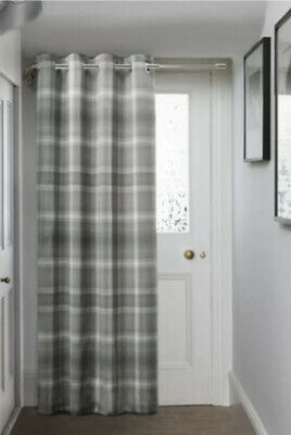 £62 • Buy Next Cosy Check Grey Eyelet Thermal Lined Door Curtain -168 X 213cm - New
