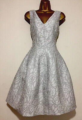 £39 • Buy COAST Amberley Silver Jacquard Fit & Flare Occasion Dress Size 12