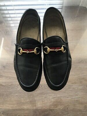 AU175.65 • Buy Authentic Gucci Black Leather Loafers Men's Shoes Size 10 1/2 D  Made In Italy