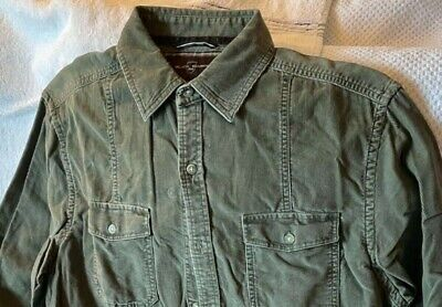 $5.75 • Buy Black Brown Men's Corduroy Button Down Shirt Olive Green Excellent Condition