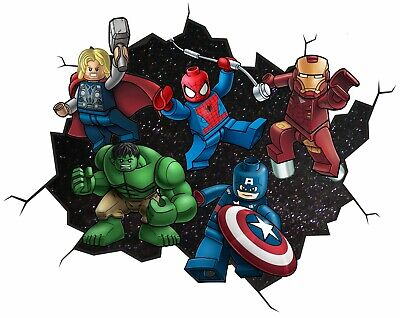 £12.50 • Buy Lego Marvel Style Childrens Wall Sticker Decal Kids Boy Girl - Top Quality Large