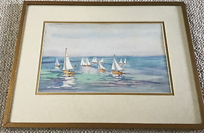 £14 • Buy Artist Dorothy Davies Mid C20th Framed Watercolour Dinghies Racing At Sea