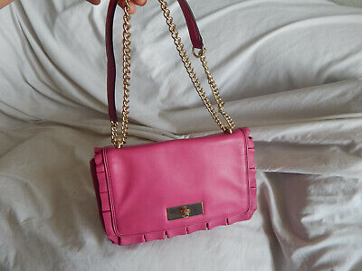 $19.99 • Buy Kate Spade Pink Leather Ruffle Trims Flap Style Shoulder  Bag ,gold Chain