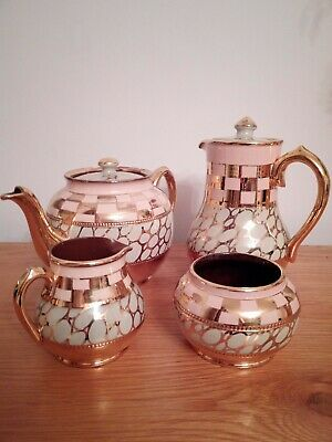 £30 • Buy VINTAGE SADLER TEAPOT SET WITH ABSTRACT DECO MOTIF AND GOLD LUSTRE 1940's