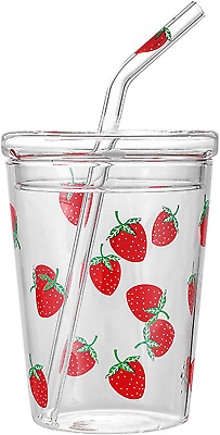 £22.09 • Buy 10.5oz Tumblers With Lids And Straws Bulk, Clear Glass Juice Drinking Cup For