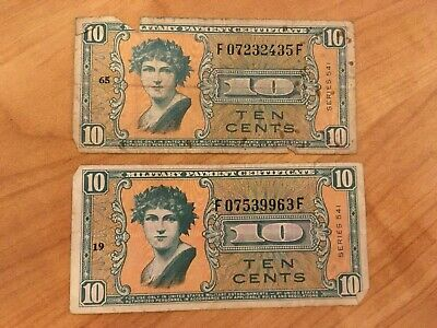 $9 • Buy 2 Military Payment Certificate MPC Series 541 Ten Cents