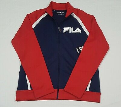 $45 • Buy Fila Mens Sports Track Color Block Jacket Poly/Cotton Navy-REd Full Zip
