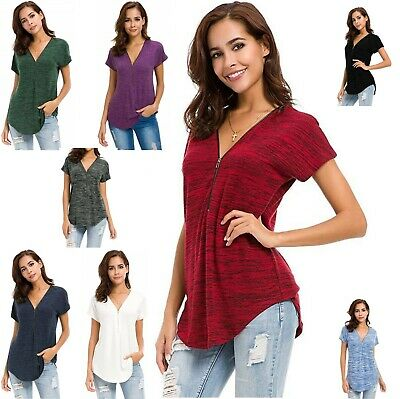 £7.99 • Buy Women's T Shirt Short Sleeve Zip Up V Neck Curve Hem Tunic Tops Relaxed Fit
