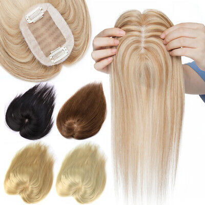 £38.33 • Buy Clip In 100% Human Hair Top Topper Toupee Cover Hairpiece Wig Women Mono Base UK