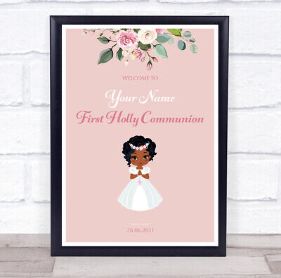£6.95 • Buy Dark Skin Girl First Holy Communion Personalised Event Party Decoration Sign