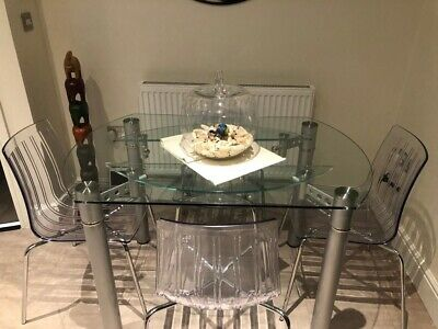 £100 • Buy Round Glass Dinning Table And Chairs