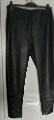 £3.20 • Buy Ladies Trousers Leather Look Front Material Back 14/16 Stretch