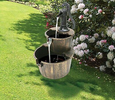 £46.99 • Buy Deluxe Water Pump Feature Fountain Cascading Antique Wood Effect Barrels