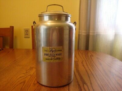 $24 • Buy Leyse Aluminum 4qt Cream Milk Can With Lid And Bail Handle Priscilla Ware Label