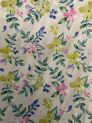 £11.50 • Buy 15 Metres White Pink & Yellow Embroidered Flowers 100% Cotton Lawn Dress Fabric