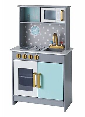£39.99 • Buy Deluxe Wooden Kitchen Play Set Kids Pretend Cooker Cooking Toy Taps And Oven New