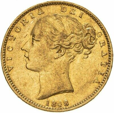 £360 • Buy 1848 Scarce Queen Victoria Shield Full Gold Sovereign