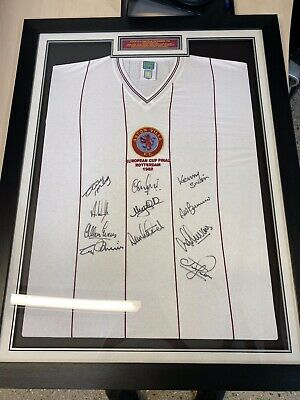 £225 • Buy Signed Aston Villa Shirt Starting 11 European Cup Winners 1982 With Authenticity