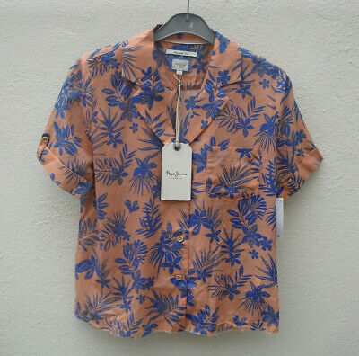 £7.50 • Buy Pepe Jeans BNWT Coral And Royal Blue Tropical Print Shirt Size Small Size 10 NEW