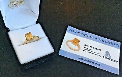 £119.95 • Buy 9K Yellow Gold Octagon Cut Citrine Ring - Size M - Certified