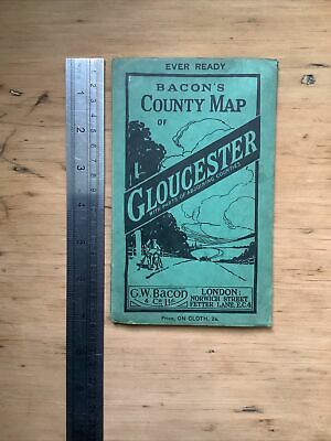 £0.99 • Buy Antique Bacons County Map Of Gloucester, Linen Backed Antique Cycle Route Map