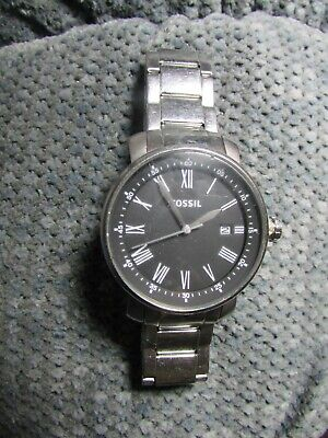 $9.99 • Buy Fossil BQ1010 Black Date Mens SS Link Quartz Watch For Parts SOLD AS IS PARTS