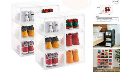 $145.06 • Buy  Clear Storage Shoes Box Womens Mens Shoe Storage Display Box Clear-6-PACK