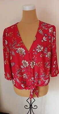 £4.50 • Buy Peacocks Red Paisley Print Tie Front Top Size 18