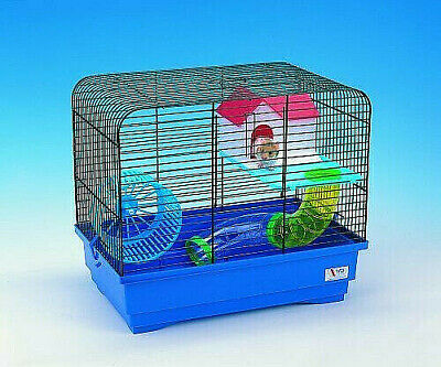 £16.99 • Buy Hamster Blue Cage With House Wheel Platform And Two Tubes Mouse Pet Rodents