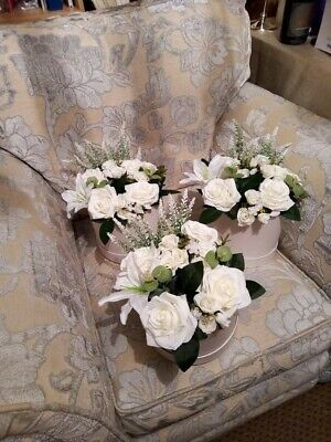 £18 • Buy Luxury Flower Hat Box Faux Silk White Rose Design. Home Decoration Or Ideal Gift