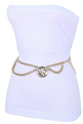 £16.42 • Buy Women Cool Style Belt Gold Metal Chain Side Wave Coin Bling Charm Size M L XL