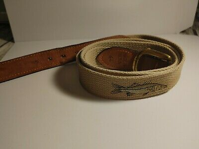 $18 • Buy Zep Pro Belt Sz 44 Leather Canvas Fish MADE IN USA