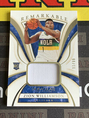 $3.25 • Buy 19-20 Immaculate Zion Williamson Rc Rookie Remarkable Jersey /99 Pelicans