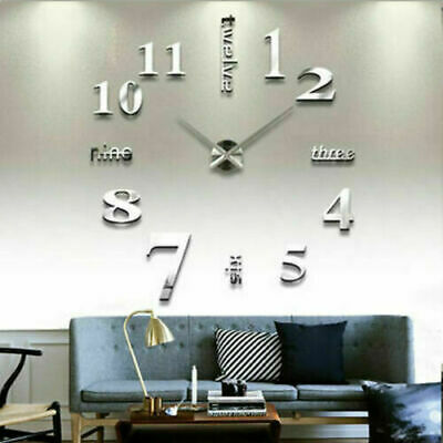 £5.09 • Buy Modern Wall Clock Sticker Silver DIY Large Number Office Home Decor Art Decal