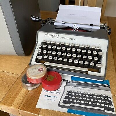£89.99 • Buy Vintage Monarch By Remington Typewriter 1960s & Carry Case, Instructions Ribbons