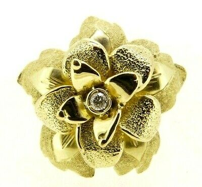 AU877.63 • Buy Vintage Ring Years' 80 IN Gold Solid 18 Carat Flower With Natural Diamond