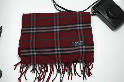 $60 • Buy Vintage Classic Burberry Scarf 100% Cashmere Made In England Red