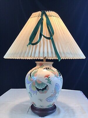 """£35 • Buy Vintage Chinese Porcelain  Butterfly Table Lamp & Pleated Shade 19"""" Tall"""