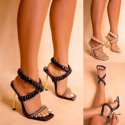 £18.99 • Buy Womens Ruched Crossover Strap Gold High Heels Chain Ladies Sandals Shoes Size