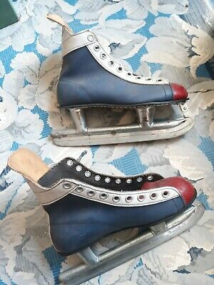 $48 • Buy Vintage Blue Line Red And Blue Ice Skates Brookfield Attic Find