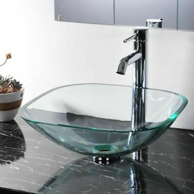 £51.48 • Buy 420mm Basin Sink Square Tempered Glass Bowl Mounted Countertop Bathroom UK Stock
