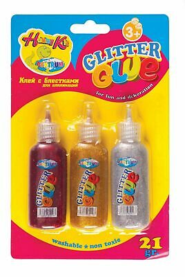 £2.99 • Buy Set Of 3 Glitter Glue 21gr For Fun And Decoration Art Work Washable Non-Toxic