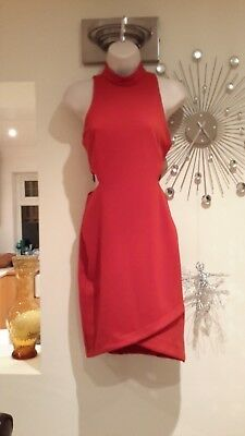 £4.99 • Buy Topshop Burnt Orange Bodycon Dress With Cut Out Side Detailing Size 10