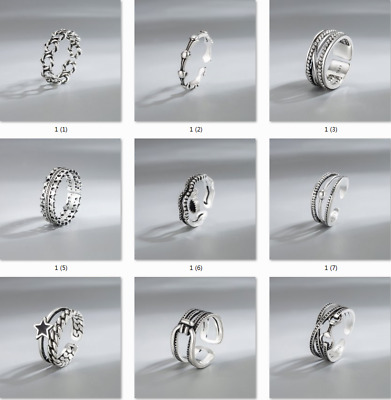 £0.99 • Buy Womens 925 Silver Rings Adjustable Open Thumb Wedding Engagement Xmas Gifts
